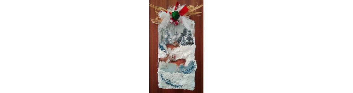 Τρισδιάστατη Χριστουγεννιάτικη Ξύλινη Πινακίδα