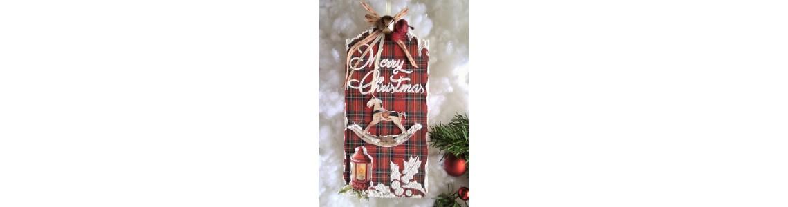 Χριστουγεννιάτικη Ξύλινη Πινακίδα με 3D Στενσιλ