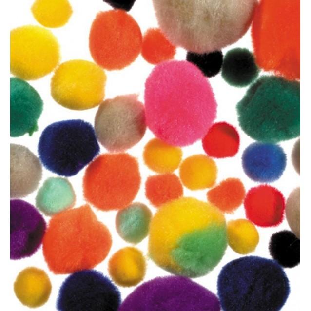 100 Πομ πομ Ανάμικτα 10 χρώματα/3 μεγέθη