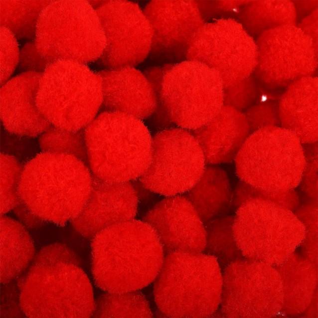 100 Πομ Πομ Κόκκινα Φ3cm