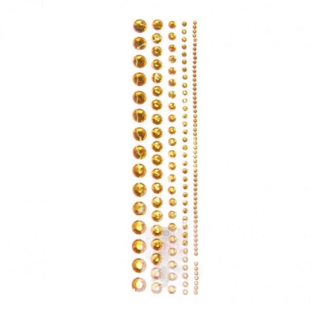 130 Στράς Αυτοκόλλητα Χρυσά σε 5 Μεγέθη