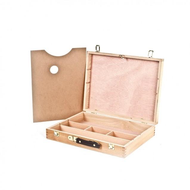 Ξύλινο Βαλιτσάκι Ζωγραφικής 32X25X7,3 cm με παλέτα
