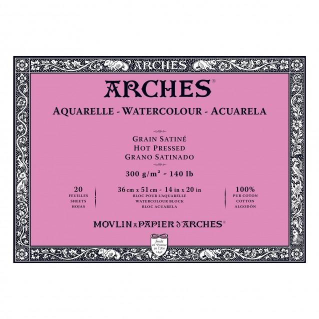 Arches Μπλοκ Ακουαρέλας Hot Pressed (Satine) 300gr 36x51cm 20 φύλλων