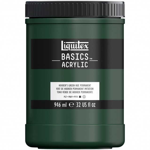 Liquitex Basics 946ml Acrylic 224 Hooker's Green Hue Permanent