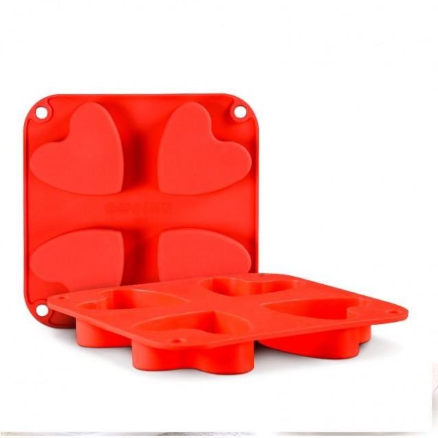 Καλούπι Σιλικόνης 15x15x2cm 4 Καρδιές