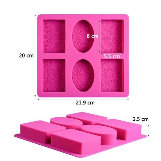 Καλούπι Σιλικόνης 21,9x20x2,5cm 4 Παραλληλόγραμμα & 2 Οβάλ