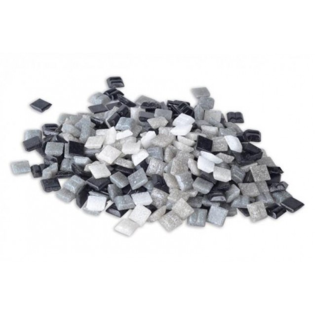 Ψηφίδες Glass Mosaic 20x20x4mm 500gr Άσπρες/Γκρι/Μαύρες
