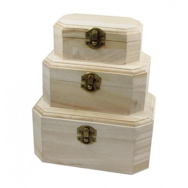 3 Ξύλινα Κουτιά 5,1x7,4x12,5cm/7,8x10x15,1cm/8,7x12,6x17,5cm