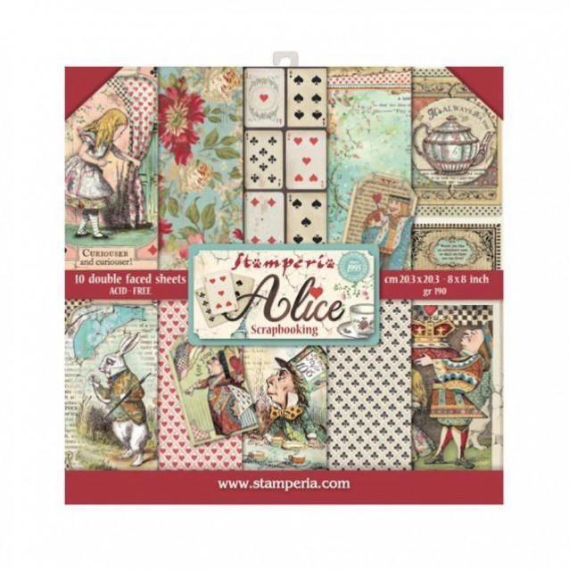 Stamperia 10 Χαρτιά Scrapbooking 20,3x20,3cm Διπλής Όψης Alice