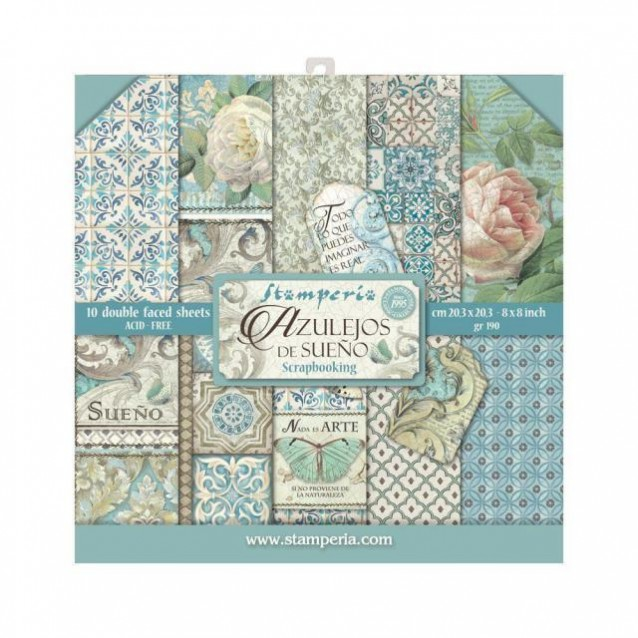 Stamperia 10 Χαρτιά Scrapbooking 20,3x20,3cm Διπλής Όψης Azulejos de Sueno
