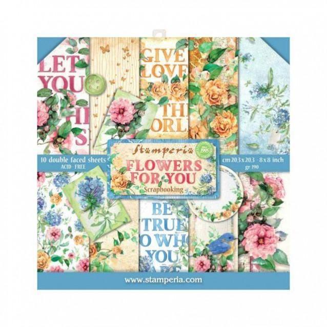 Stamperia 10 Χαρτιά Scrapbooking 20,3x20,3cm Διπλής Όψης Flowers for you