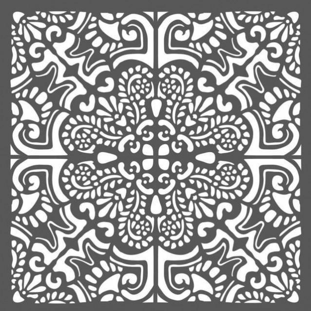 Stamperia Χονδρό Στένσιλ 0,5mm 18x18cm Azulejos Piastrella2