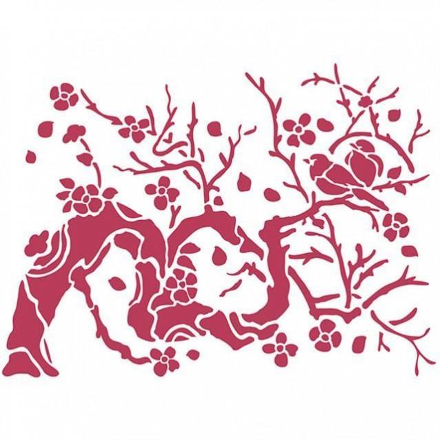 Stamperia Stencil D 20x15cm Uccellino Su Ramo