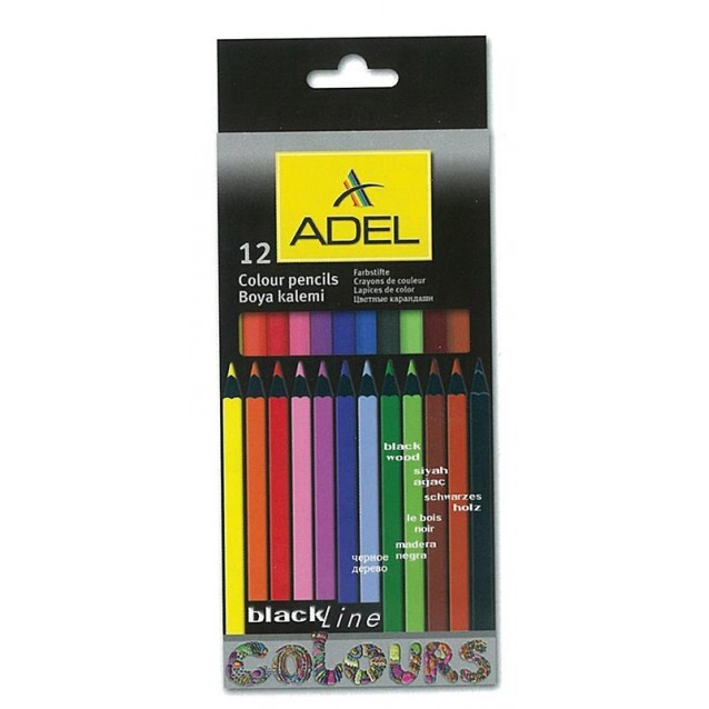 Adel Ξυλομπογιές Blackline 12 Χρώματα