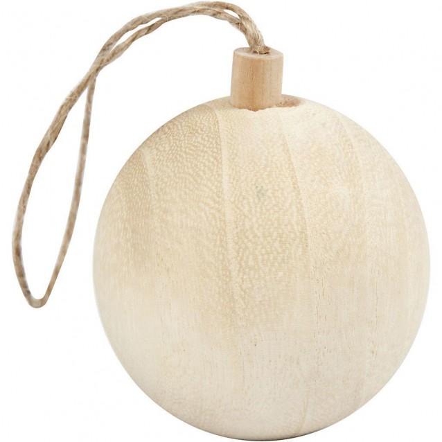 Χριστουγεννιάτικη Ξύλινη Κρεμαστή Μπάλα Φ 6,4cm με Σχοινάκι