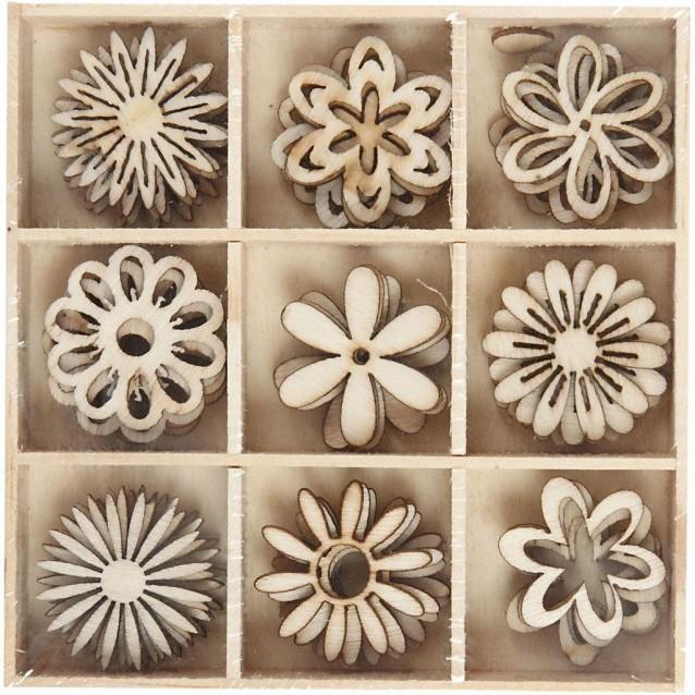 45 Ξύλινα Διακοσμητικά Φ 28mm Λουλούδια σε 9 Σχέδια