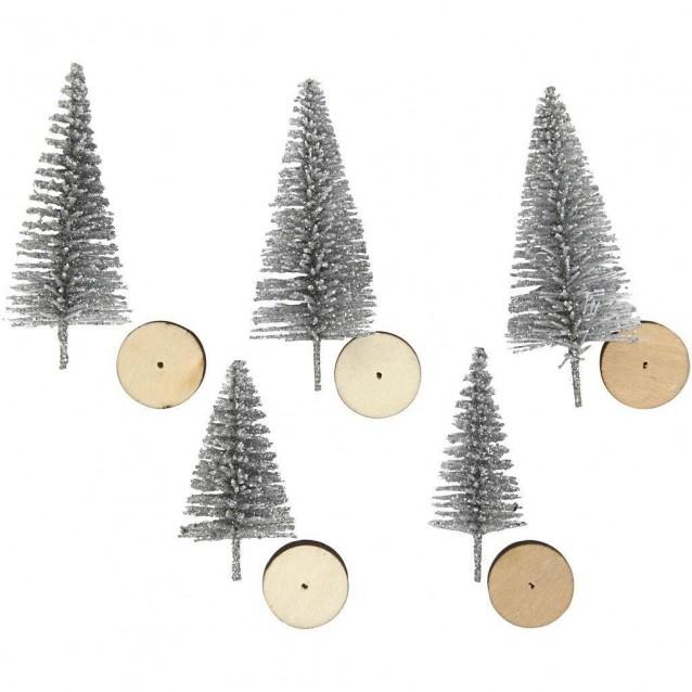 5 Χιονισμένα Κωνοφόρα Δέντρα 4 & 6cm