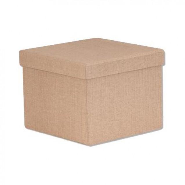 Χάρτινο Κουτί Επενδυμένο Τετράγωνο 18x18x13 cm - Φυσικό Καφέ