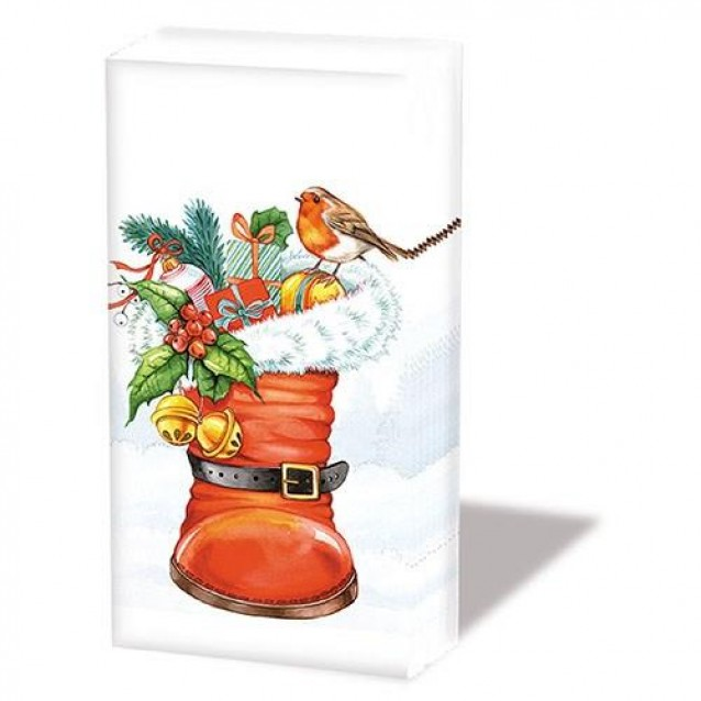10 Χαρτομάντηλα 21,5x22cm Christmas Boot