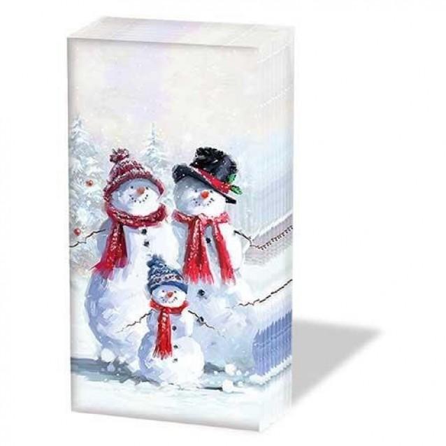 10 Χαρτομάντηλα 21,5x22cm Snowman With Hat