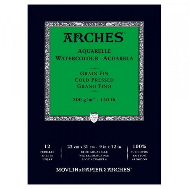 Arches Μπλοκ Ακουαρέλας Cold Pressed (Λεπτόκοκκο) 300gr 23x31cm 12 φύλλων