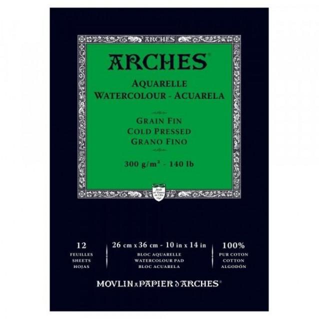 Arches Μπλοκ Ακουαρέλας Cold Pressed (Λεπτόκοκκο) 300gr 26x36cm 12 φύλλων