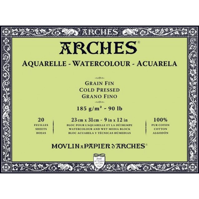 Arches Μπλοκ Ακουαρέλας Cold Pressed (Λεπτόκοκκο) 185gr 23x31cm 20 φύλλων