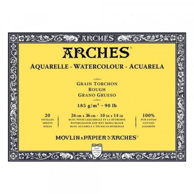Arches Μπλοκ Ακουαρέλας Rough Grain (Τραχύ) 185gr 26x36cm 20 φύλλων