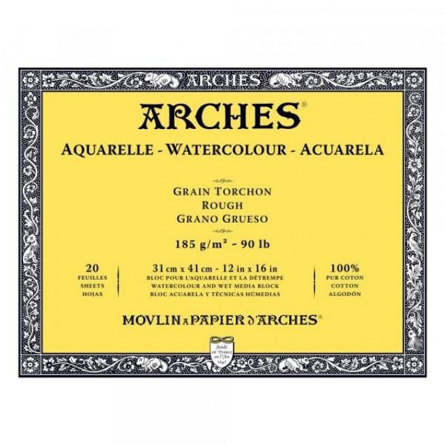 Arches Μπλοκ Ακουαρέλας Rough Grain (Τραχύ) 185gr 31x41cm 20 φύλλων