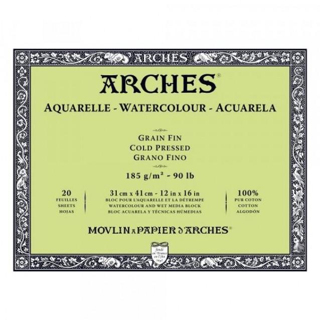 Arches Μπλοκ Ακουαρέλας Cold Pressed (Λεπτόκοκκο) 185gr 31x41cm 20 φύλλων
