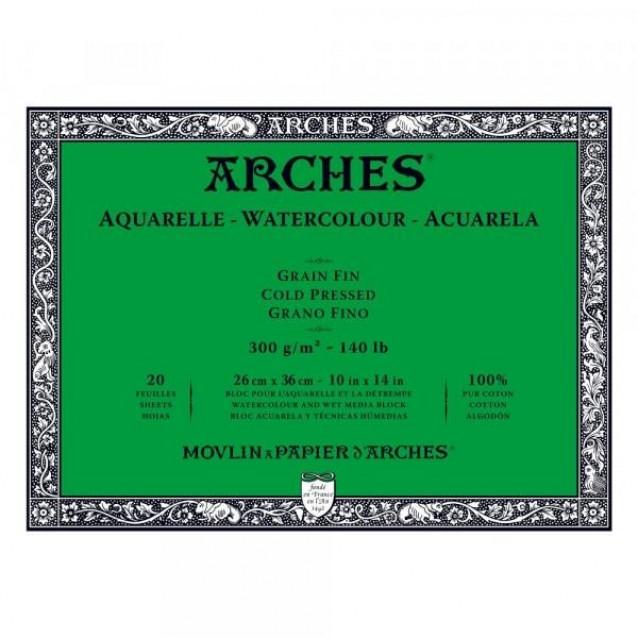 Arches Μπλοκ Ακουαρέλας Cold Pressed (Λεπτόκοκκο) 300gr 26x36cm 20 φύλλων