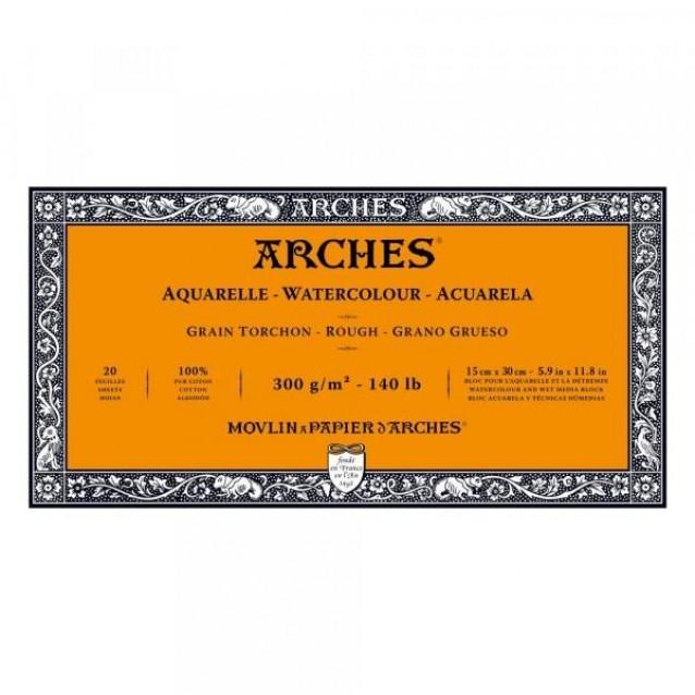 Arches Μπλοκ Ακουαρέλας Rough Grain (Τραχύ) 300gr 15x30cm 20 φύλλων