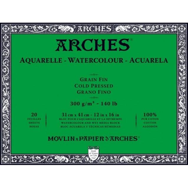 Arches Μπλοκ Ακουαρέλας Cold Pressed (Λεπτόκοκκο) 300gr 31x41cm 20 φύλλων