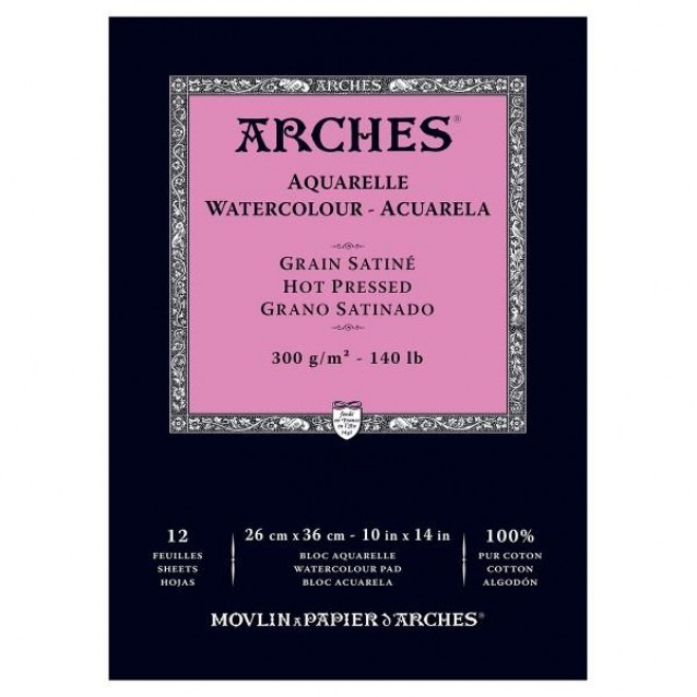 Arches Μπλοκ Ακουαρέλας Hot Pressed (Satine) 300gr 26x36cm 12 φύλλων