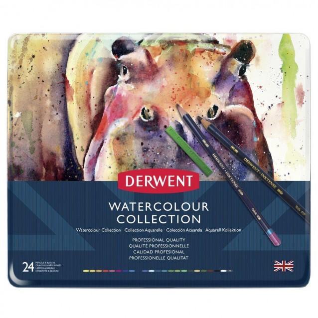 Derwent Μεταλλική Κασετίνα Watercolour Collection 24 τεμαχίων