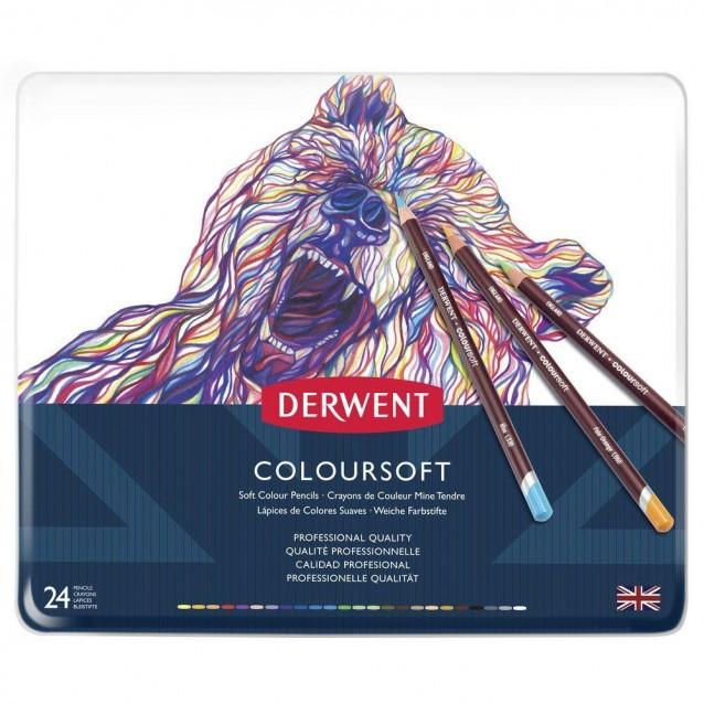 Derwent Μεταλλική Κασετίνα με 24 Μολύβια Coloursoft