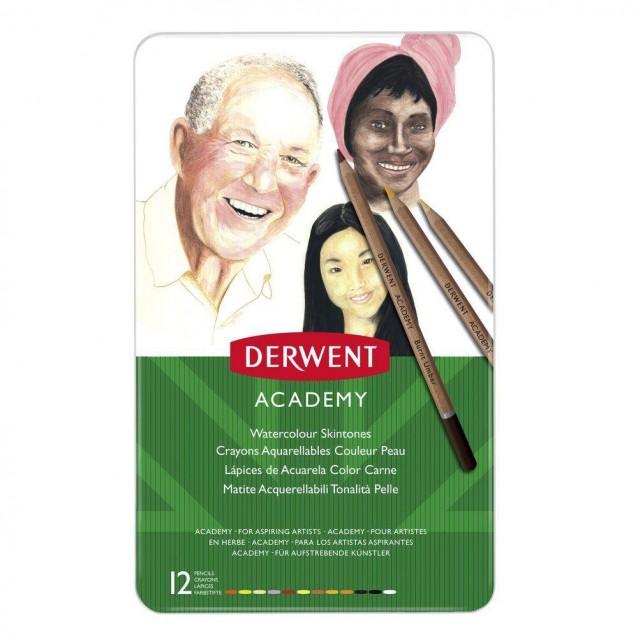 Derwent Academy Μεταλλική Κασετίνα με 12 Μολύβια Ακουαρέλας Skin Tones