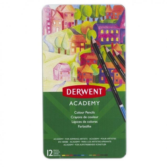 Derwent Academy Μεταλλική Κασετίνα Με 12 Χρωματιστά Μολύβια