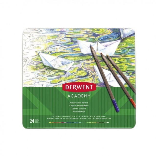 Derwent Academy Μεταλλική Κασετίνα με 24 Μολύβια Ακουαρέλας