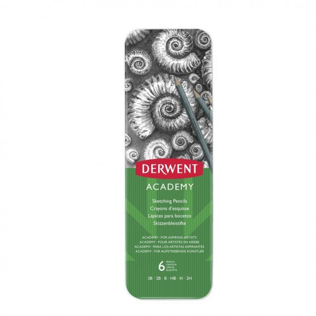 Derwent Academy Μεταλλική Κασετίνα Με 6 Μολύβια Σχεδίου