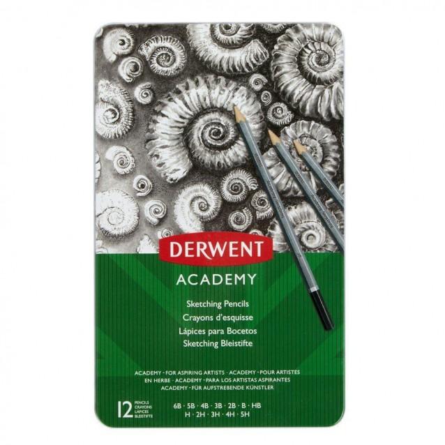 Derwent Academy Μεταλλική Κασετίνα Με 12 Μολύβια Σχεδίου