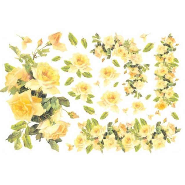Stamperia Ριζόχαρτο Decoupage 48x33cm Roses Yellow