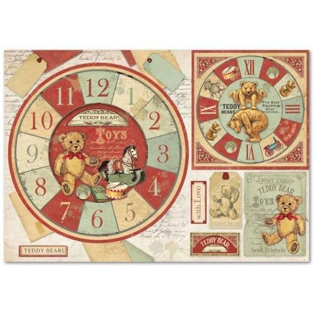Stamperia Ριζόχαρτο Decoupage 48x33cm Teddy Bear Watch