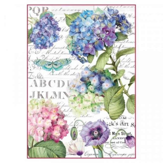 Stamperia Decoupage Ricepaper A4 Hortensia And Dragonfly