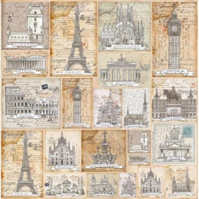 Stamperia Ριζόχαρτο Decoupage 50x50cm Postcards From Europe