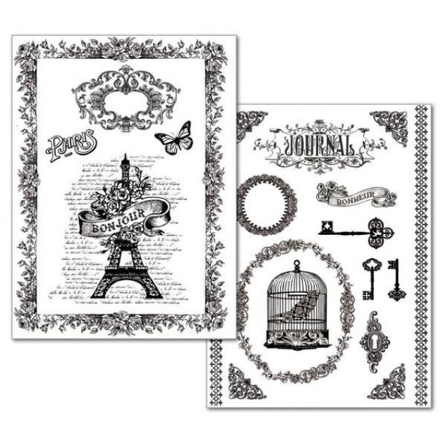 Stamperia 2 Χαρτιά Μεταφοράς Α4 La Vie En Rose Tour Eiffel