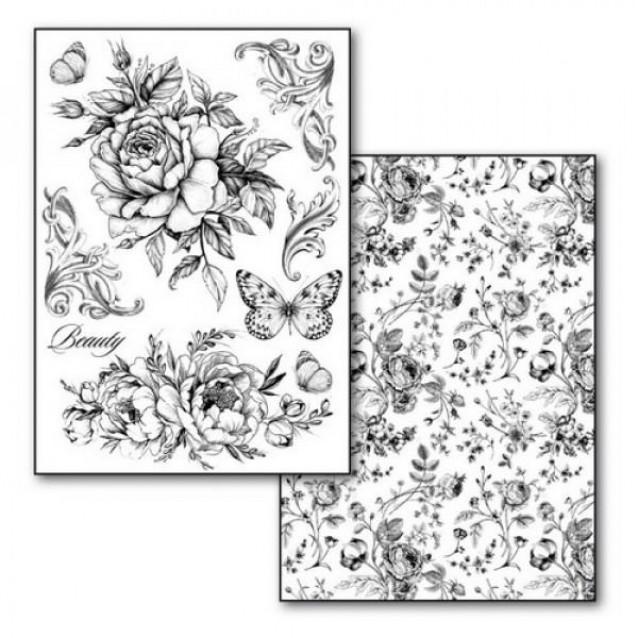 Stamperia 2 Χαρτιά Μεταφοράς Α4 Roses And Butterlies