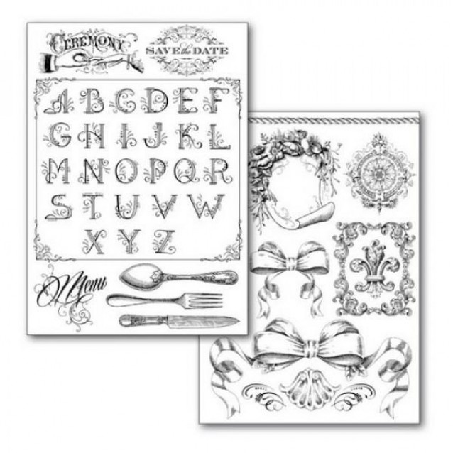 Stamperia 2 Χαρτιά Μεταφοράς Α4 Alphabet And Decorations