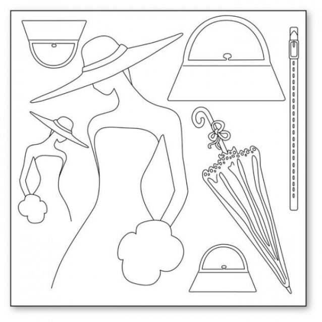 Stamperia Silhouette Art Napkin - Woman With Hat And Accessories