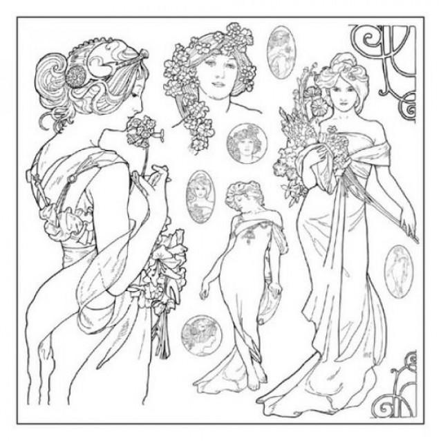 Stamperia Silhouette Art Napkin - Mucha